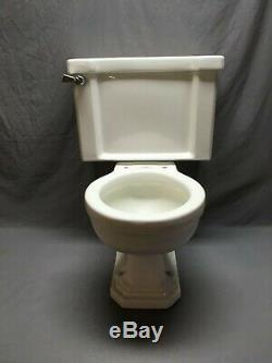 Antique Ceramic White Porcelain Toilet Tank Bowl Lid Deco Vtg Standard 359-19E