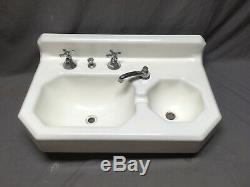 Antique Deco Cast Iron White Porcelain Double Basin Bath Wall Sink Vtg 310-20E