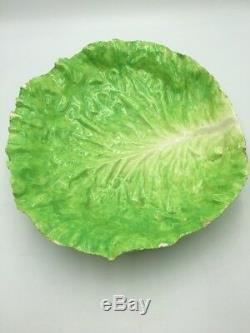 Antique E B NAPOLI Large Lettuce Cabbage Leaf BOWL Rare ITALIAN MAJOLICA