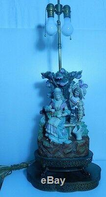Antique Figural Couple & Kitten Porcelain Capodimonte and Brass Lamp 32 1/2 H