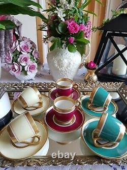 Antique French Limoges Pillivuyt Porcelain France Art Deco Coffee Cup Set of 6