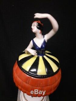 Antique German Art Deco Porcelain Figural Powder Box