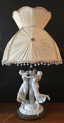 Antique German Art Deco Rosenthal Porcelain Figurine Lamp Pare