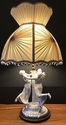Antique German Art Deco Rosenthal Porcelain Figurine Lamp With Orig Bronze Base