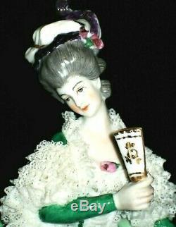 Antique German Dresden Lace Art Deco Lady Dancer With Fan Lg Porcelain Figurine