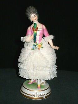 Antique German Dresden Lace Art Deco Lady Queen Doll & Parrot Porcelain Figurine