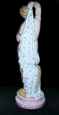 Antique German Kpm Lady Nude Goddess Bathing Beauty Bisque Porcelain Figurine