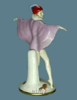 Antique German Porcelain Art Deco Butterfly Lady Dancer Figurine Katzhutte Rare