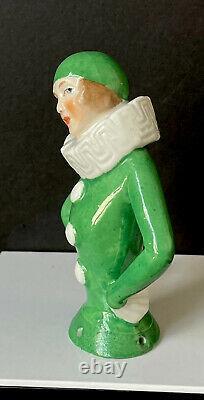 Antique German Porcelain Art Deco Figurine Pin Cushion Half Pierrot Doll