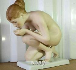 Antique German Rosenthal Nude Porcelain Figurine by Ernst Wenck, 6 H