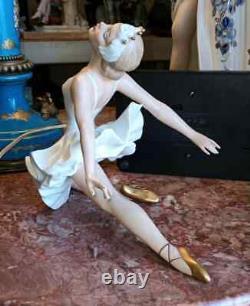 Antique German Wallendorf Porcelain Ballerina on Ballet Break. 7 x 9