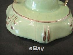 Antique Green Porcelain Pendant Light Fixture Vintage Porcelier w Shade