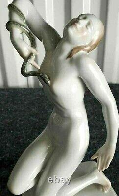 Antique Herend Porcelain Figurine, Cleopatra and the snake, 9.75 H