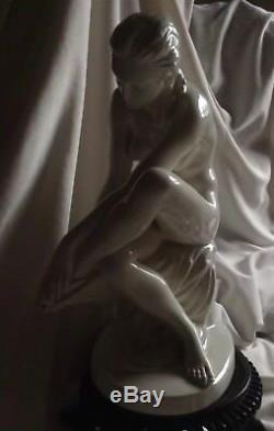 Antique Herend Style Art Nouveau Porcelain Nude Lady Big Figurine Hungary Statue