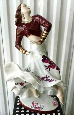 Antique Huge Art Deco Royal Dux Porcelain Figurine, Gypsy Dancer. 22 H