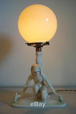 Antique Karlens Dresden Porcelain Art Deco Nouveau Erotic Naked Girl Woman Lamp