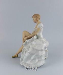 Antique Large Porcelain German Art Deco Figurine of Ballerina by Wallendorf