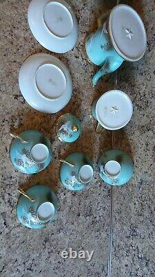 Antique Nippon Flying Gold Geese Hand Painted Jeweled Porcelain Tea Set 9 Pieces