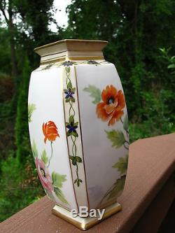 Antique Nippon Vase Art Deco Hand Painted Poppies Flowers Marked 8 Tall Japan