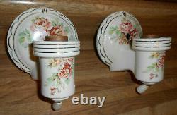 Antique Pair Porcelain Ceramic Sconces Lights, Garden Flowers, Gold Trim Work