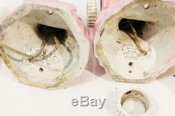 Antique Pink Porcelain Wall Sconce Pair Art Deco w Skyscraper Slip Shade Glass