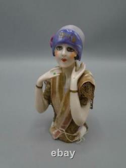 Antique Porcelain China Half Doll Figurine Pin Cushion Art Deco Flapper Eyeliner