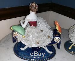 Antique Porcelain Muller Dresden Lace Lady with Parrot Fan Figurine Art Deco
