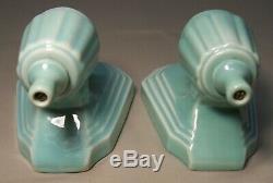Antique Porcelain Sconce Light Fixture Aqua Art Deco Vtg Pair Rewired USA #F91