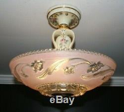 Antique Porcelier pink glass 14 inch shade Art Deco light fixture chandelier