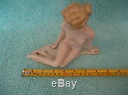 Antique Rare Beautiful Art Deco Nude Woman Porcelain Figure Figurine