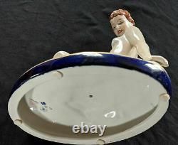 Antique Royal Dux Porcelain Nude Figurine, Reclining Lady, by Elly Strobach, 195