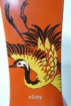 Antique Shelley Art Deco Crane Herron Hand Painted Orange Vase