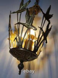 Antique Swan 3 Lights Solid Brass Ornate Chandelier Fixture Superb