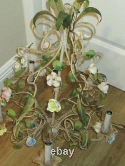 Antique VINTAGE Italian TOLE Metal Porcelain Flowers Roses 5 Light Chandelier
