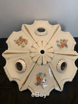 Antique Vtg Porcelain Art Deco Flush Mount Floral Design Light Fixture 3 Light