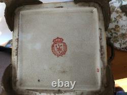 Antique Wong Lee Olive Green Art Deco Porcelain & Bronze Pedestal Lidded Bowl