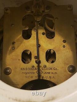 Antique Working 1881 ANSONIA Victorian Porcelain Open Escapement Mantel Clock