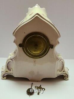 Antique Working 1882 ANSONIA La Normandie Porcelain Open Escapement Mantel Clock