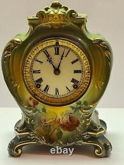 Antique Working 1904 ANSONIA La Plaine Royal Bonn Porcelain Ceramic Mantel Clock