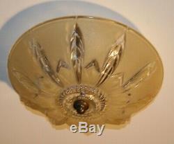 Antique beige 12 glass Art Deco flush mount ceiling light fixture 1940s