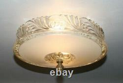 Antique beige glass flush mount original 40s art deco light fixture chandelier