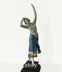 Antique ceramic porcelain Lady dancer Art Deco flapper Goldscheider figurine