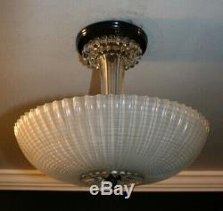 Antique frosted glass 12 Art Deco semi flush mount ceiling light fixture 1940s