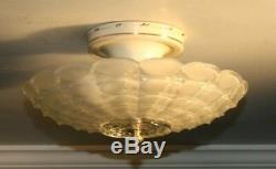 Antique frosted glass 14 Art Deco flush mount ceiling light fixture 1940s