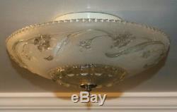 Antique frosted glass 14 Art Deco flush mount ceiling light fixture Porcelier