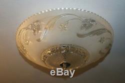 Antique frosted glass 16 Art Deco flush mount ceiling light fixture Porcelier