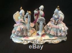 Antique german porcelain. Dresden group of musicians. Marked Bottom