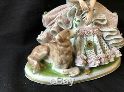 Antique german porcelain. Dresden lady with borzoi dog Marked Bottom