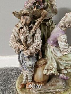 Antique large German porcelain figurine men woman marked Collectible rare old
