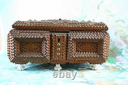 Antique large1900 English Tramp art box wood porcelain paws flower deco inside